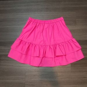 J.Crew Ruffled Bright Pink Wool Blend Mini Skirt